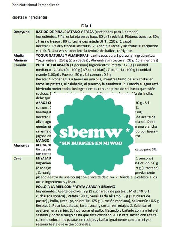 Ejemplo recetas e ingredientes planes SBEMW